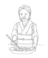 和食屋の女将の線画