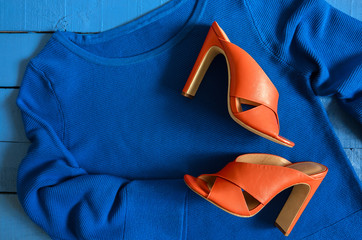 Womens clothing, footwear (blue blouse,  leather terracotta shoes). Fashion outfit. Shopping concept. View from above.  Trendy, saturated colors