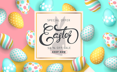 Easter sale banner background template with beautiful colorful eggs. Vector illustration.