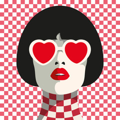 Stylish woman with heart glasses and bob haircut. Seamless geometric pattern. Chess pattern.