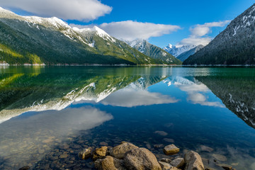 Chilliwack Lake with the reflecting Mount Redoubt (Skagit Range Mountains) in the backround Wall mural