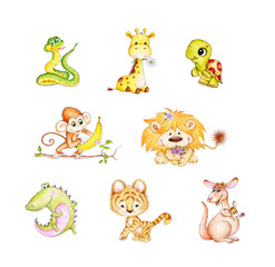 Set of wild animals: alligator, lion, snake, giraffe, kangaroo, monkey, tiger, turtle