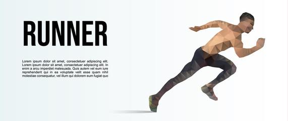 Vector low polygonal runner illustration, sport banner