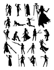 Cosplay pose silhouette. Good use for symbol, logo, web icon, mascot, sign, or any design you want.