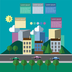 City bannner  illustration with colorful  infographics for text