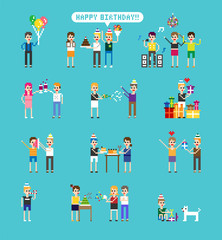happy birthday party pixel character vector flat design illustration set