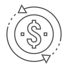 Return on investment thin line icon, development and business, money back sign vector graphics, a linear pattern on a white background, eps 10.