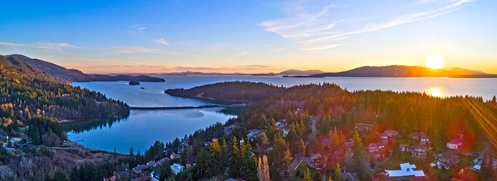Bellingham Bay Panoramic Lummi Samish San Juan Island Teddy Bear Cove Aerial Landscape Sunset View
