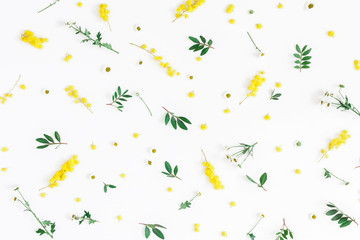 Flowers composition. Pattern made of fistachio leaves and yellow flowers on white background. Easter, spring, summer concept. Flat lay, top view