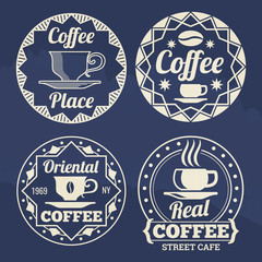 Stylish coffee labels vector design for cafe, shop, market