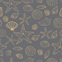 Starfish and seashells. Vector seamless pattern