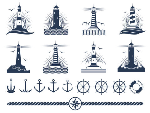 Nautical logos and elements set - anchors lighthouses rope