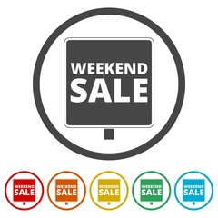 Weekend Sale Sign, 6 Colors Included