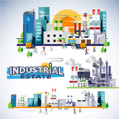 industrial estate skyscraper with factory, warehouse, powerplant and building set. typographic for header design - vector