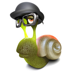 3d Funny cartoon snail bug character wearing a bowler hat