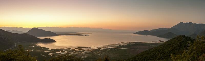 aerial panorama Skadar Lake