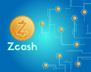 Cryptocurrency zcash style circuit on blue background