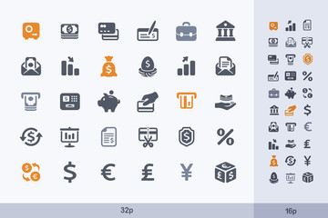 Money & Banking - Carbon Icons. A set of 30 professional, pixel-perfect icon designed on a 32x32 pixel grid.