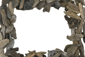 Driftwood. rectangular frame of gray  dry snag isolated on white background. Blank empty . Flat lay, top view, copy space