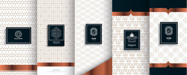 Collection of design elements,labels,icon, frames,for packaging,design of luxury products.for perfume,soap,wine,lotion.Made with golden foil.Isolated on silver, bronze background.vector illustration