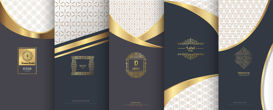 Collection of design elements,labels,icon, frames, for packaging,design of luxury products.for perfume,soap,wine,lotion.Made with golden foil.Isolated on geometric background.vector illustration