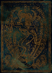 Zodiac sign Taurus on blue grunge texture background. Hand drawn fantasy graphic illustration in frame