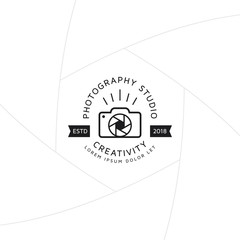 Creative photography badge or label design, Logo for studio and photographer or videographer with camera symbol. Photography logo template