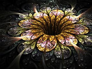 Dark golden fractal flower, digital artwork for creative graphic design