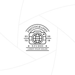 Travel photography badge or label design, Logo for studio and travel photographer or videographer with camera and globe symbol. Photography logo template