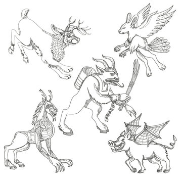 A collection of doodle art illustrations that includes the following mythical creatures from legend folklore; jackalope, krampus, skraver, wendigo and wild boar with bat wings on isolated background.