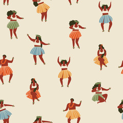 Hawaii dance seamless pattern.