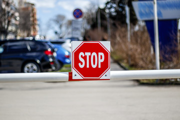 barrier with stop sign