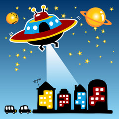 Cartoon of alien attack a city