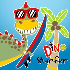 Dino surfer cartoon