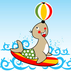 cartoon of seal the best circus player