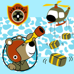 Nice animal cartoon with helicopter toy on camouflage background