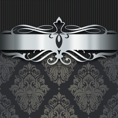 Wall Mural - Decorative dark background with silver border.
