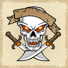 vector of skull with banner and twin swords