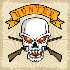 vector of skull with two weapons on grunge frame