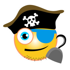 vector cartoon of pirate emoticon with hook up