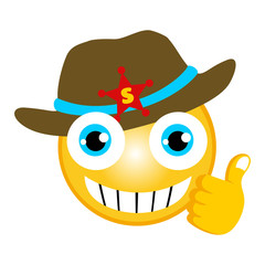 vector cartoon of cowboy emoticon with thumb up