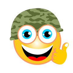 vector cartoon of soldier emoticon with thumb up