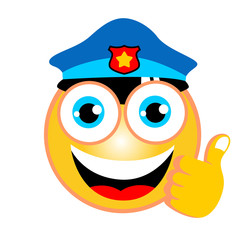 vector cartoon of policeman emoticon with thumb up