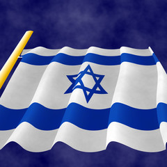 Illustraion of a flying Israeli Flag on the flagpole, view up