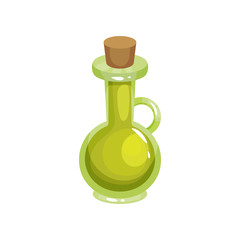 Transparent glass jug with tapered bung filled with olive oil. Ingredient for cooking and skin care. Organic and healthy product. Cartoon flat vector illustration