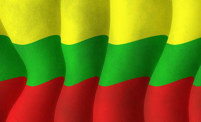 Illustration of a Lithuanian flying flag