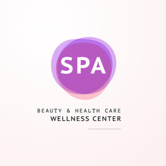 Vector transparent wellness & spa logo symbol in light colors isolated on white background. Perfect for massage saloon, wellness, beauty, yoga, health care centers, fashion insignia design.