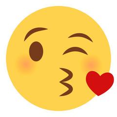Kussmund mit Herz Emoticon