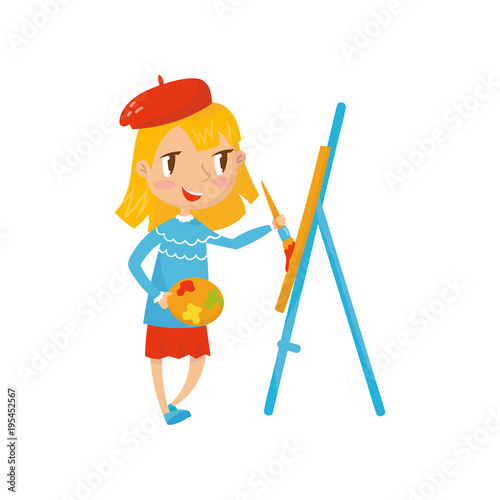 Cartoon Girl Character Holding Palette And Painting On Canvas Child