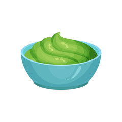 Traditional Mexican guacamole in blue ceramic dip bowl. Dishes component. Cooking ingredient. Organic food. Flat vector element for restaurant or cafe menu